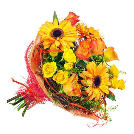 Fiori Arancioni E Gialli.Bouquet Solare Giallo E Arancio Fiori Online Vendita E Consegna