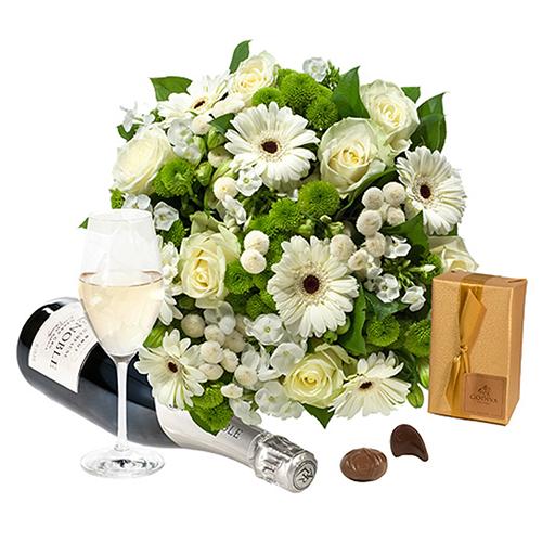 Mazzo Di Fiori E Spumante.Bouquet Bianco Con Cioccolatini E Spumante Fiori Online Vendita