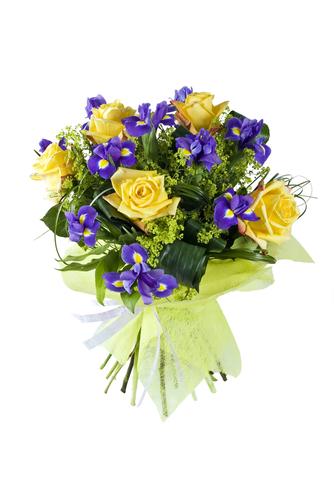 Mazzo Di Fiori Blu.Bouquet Di Fiori Gialli E Iris Blu Fiori Online Vendita E