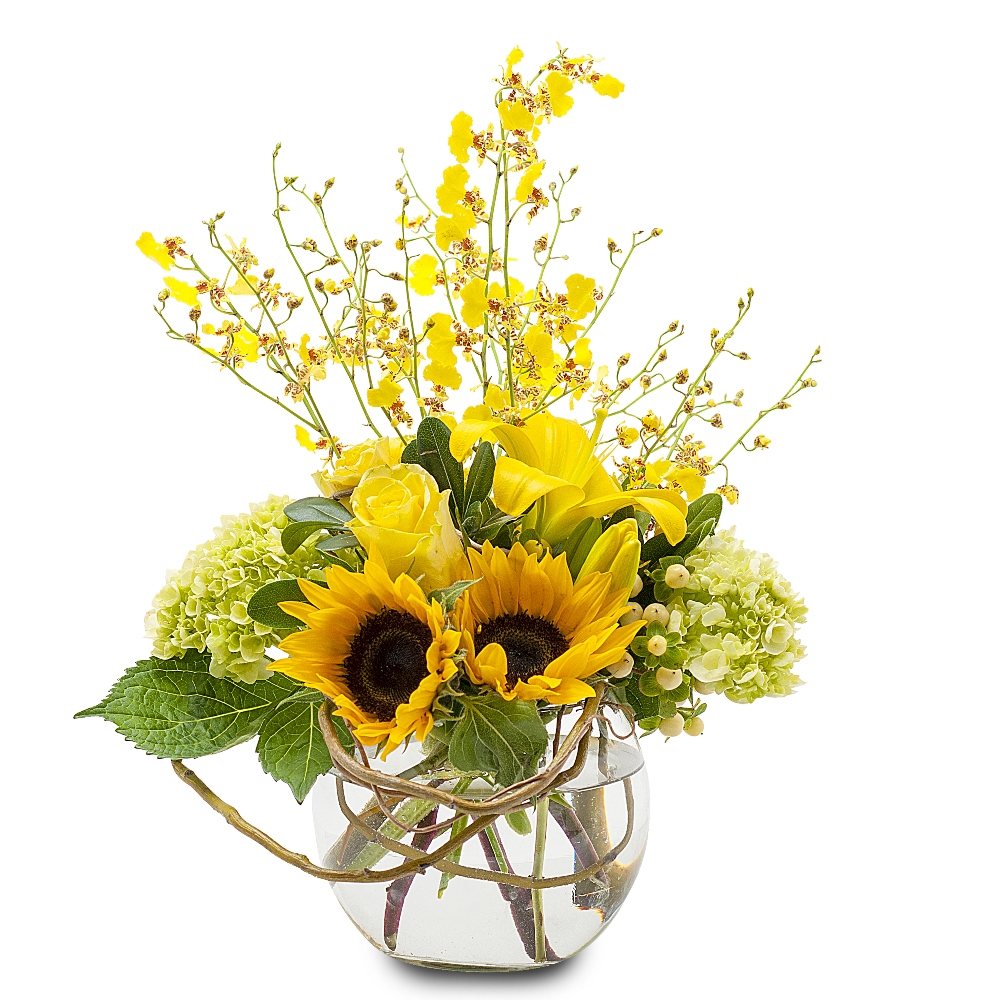 Fiori Gialli Vaso.Vendita Composizione Di Girasoli E Fiori Gialli Online