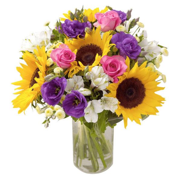 bouquet misto con girasoli