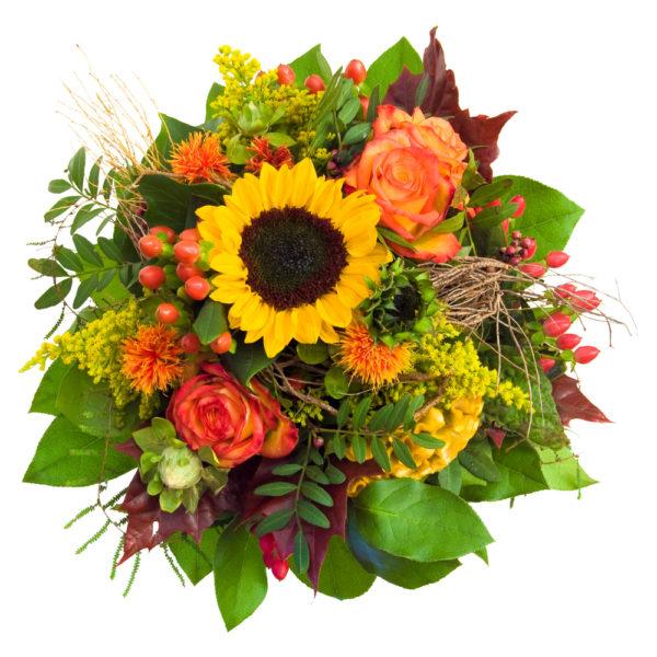 bouquet di fiori misti con girasoli e roselline arancio